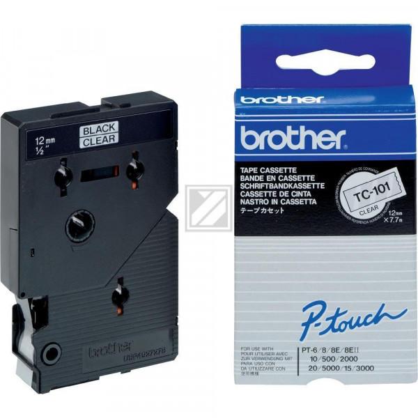 Brother Schriftbandkassette schwarz/transparent (TC-101)