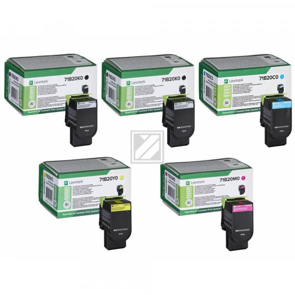 Lexmark Toner-Kit gelb, cyan, magenta, 2 x schwarz ersetzt 71B20K0, 71B20C0, 71B20M0, 71B20Y0