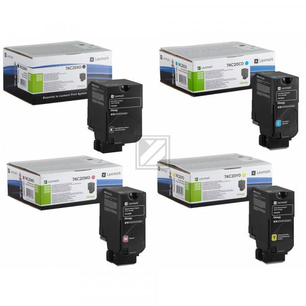 Lexmark Toner-Kit gelb, cyan, magenta, schwarz ersetzt 74C20C0, 74C20K0, 74C20M0, 74C20Y0