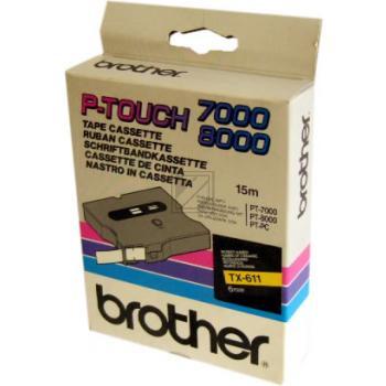 Brother Schriftbandkassette schwarz/gelb (TX-611)