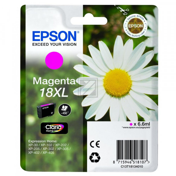 Epson Tintenpatrone magenta HC (C13T18134020, T1813)