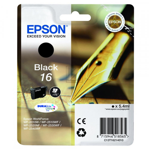 Epson Tintenpatrone schwarz (C13T16214012, T1621)