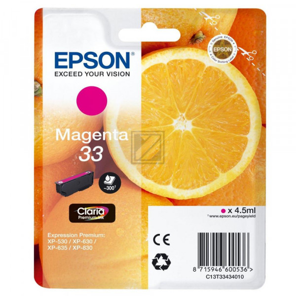 Epson Tintenpatrone with secure magenta (C13T33434020, T3343)