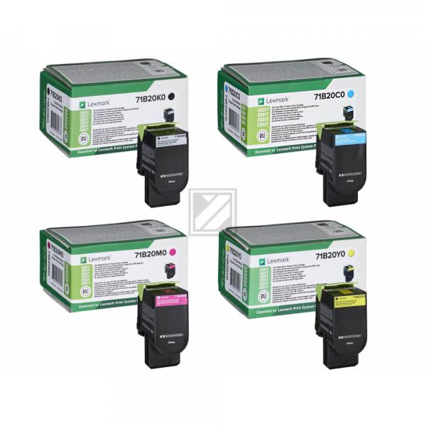 Lexmark Toner-Kit gelb, cyan, magenta, schwarz ersetzt 71B20K0, 71B20C0, 71B20M0, 71B20Y0