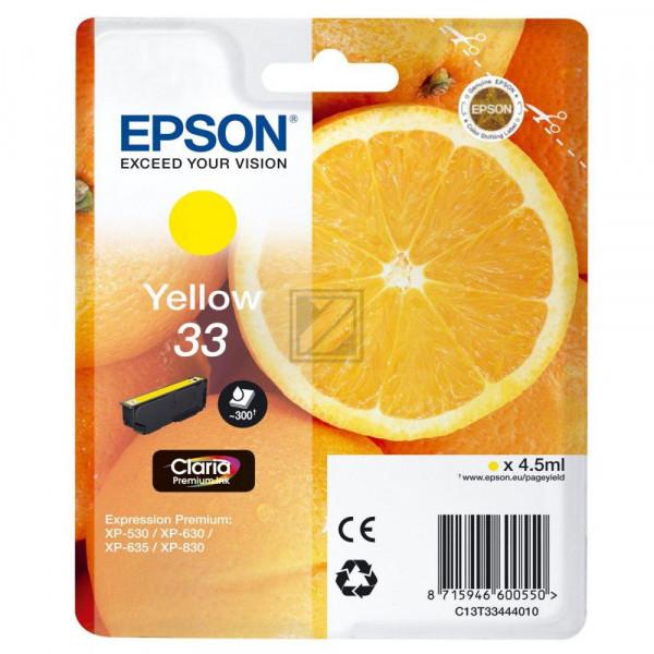 Epson Tintenpatrone with secure gelb (C13T33444020, T3344)