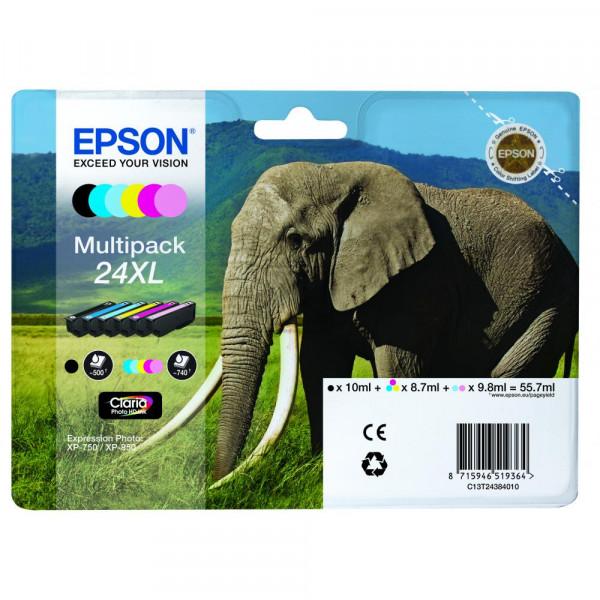 Epson Tintenpatrone gelb cyan cyan light magenta magenta light schwarz HC (C13T24384011, T2438)